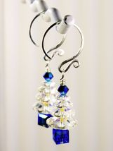 Christmas Tree Earrings / Blue/ made w/ Swarovski Crystals / 925 Sterling image 4