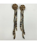 Vintage Leopard Cheetah Print Beaded Dangle Clip On Earrings Funky Safari - $11.10