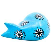 Tabaka Chigware Hand Carved Kisii Soapstone Blue Flower Sleeping Cat Figure image 3