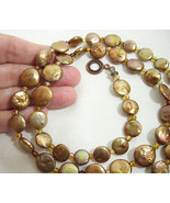 Coppery Pearly Luminous Disc Beads Necklace Strand String Toggle Clasp V... - $13.81