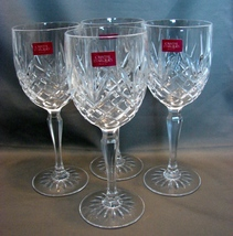 "4 Cristal d Arques Masquerade Pattern 7 3/8""  Wine Crystal Glasses - $27.99"