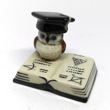 Ceramic Brown Owl Figurine on Book Porcelain Miniature Bird Craft Zoo An... - $6.88