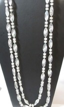 LONG VINTAGE PLASTIC CLEAR NECKLACE DISK TWISTED BEADS VINTAGE MID CENTURY - $28.00