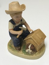 HOMCO Denim Days #1503 Puppy Love Figurine Danny Building Doghouse 1985 Home Int - $13.99