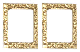DOLLHOUSE MINIATURES 2 PC SMALL GOLD RECTANGULAR FRAMES SET #G7947 - $3.30