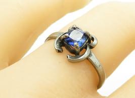 925 Sterling Silver - Vintage Prong Set Blue Topaz Smooth Band Ring Sz 8... - $20.95