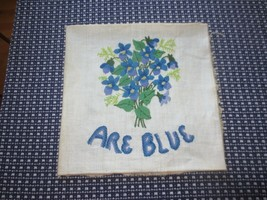 "VIOLETS ARE BLUE Crewel Embroidery for Pillow or Wall Hanging - 12"" x 12""  - $9.90"
