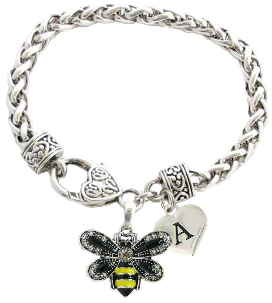 Primary image for Custom Yellow Black Bumble Bee Silver Bracelet Jewelry Choose Initial or Family