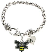 Custom Yellow Black Bumble Bee Silver Bracelet Jewelry Choose Initial or... - $14.87
