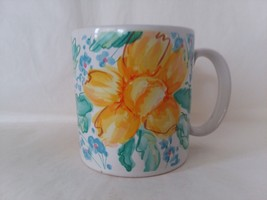 Large Russ Berrie Yellow Blue Daffodil Flower Coffee Tea Mug - $14.84
