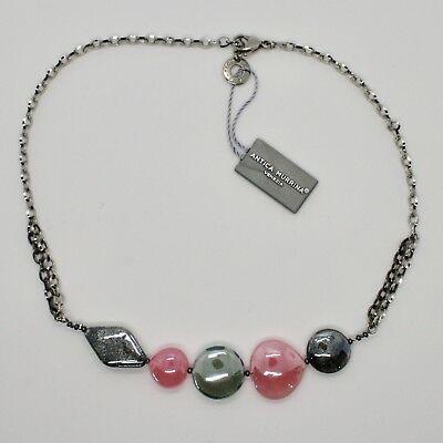 NECKLACE ANTIQUE MURRINA VENICE WITH MURANO GLASS ROSE AND GRAY COA87A45