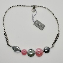 NECKLACE ANTIQUE MURRINA VENICE WITH MURANO GLASS ROSE AND GRAY COA87A45 image 1