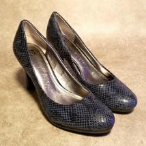 Anne Klein Womens Iflex Clemence 2 Sz 7.5 Blue Black Animal Print Heels Pumps - $24.99