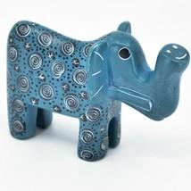 Hand Carved Kenyan Kisii Soapstone Blue Swirl Tembo Elephant Figurine - $21.77