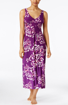 AlfaniPurple Floral-print V-neck Nightgown in Medium - $25.73