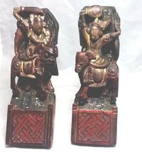 "Antique Mythological  Warriors Riders set of 4 hand carved wood 8"" - $777.15"