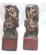 "Antique Mythological  Warriors Riders set of 4 hand carved wood 8"" - $777.15"