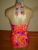 New Leilani Lux Women's 1 Pc Swimsuit V-Neck Halter Atomic Orange Tropical Sz 10 image 4