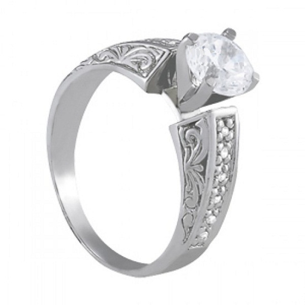 14k White Gold Plated 925 Sterling Silver Women's Engagement Ring Round Cut CZ