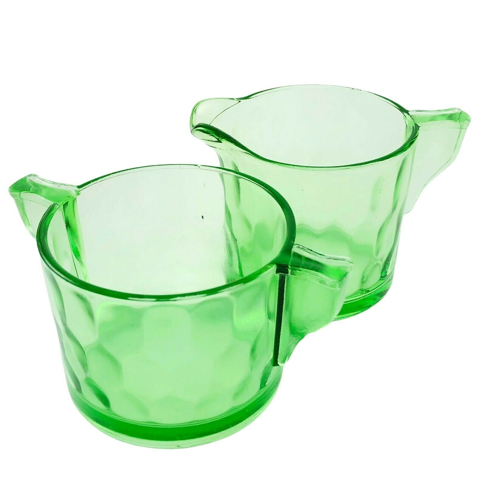 Jeannette Depression Glass Creamer Sugar Hex Optic Honeycomb Green Vaseline Vtg - $18.95