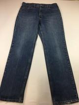 Vtg Levi's 505 Slim Fit Straight Leg High Rise J EAN S Size 14 M 33 X 32 Distress - $25.93