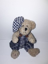 "Stuffed Bear 8"" Blue Overalls Blue Hat - $15.00"