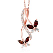 18K Rose Gold Plated Silver Marquise Red Garnet Butterfly Infinity Penda... - $137.11