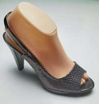 AK Anne Klein 8.5 M iFlex Metallic AKEBONY Pewter Gray Slingback Open Toe Heels - $24.74