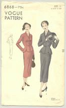 Vogue Sewing Pattern 6868 1940's Misses Suit Dress Size 12-20 - $17.81