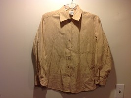 Ladies Sand Colored Button Up Blouse w Paisley Design by Allison Daley Sz 18W
