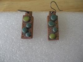 Unique Clay Leatherlike Lemon Turquoise & Blue Stone Earrings Signed Sarah - $14.49