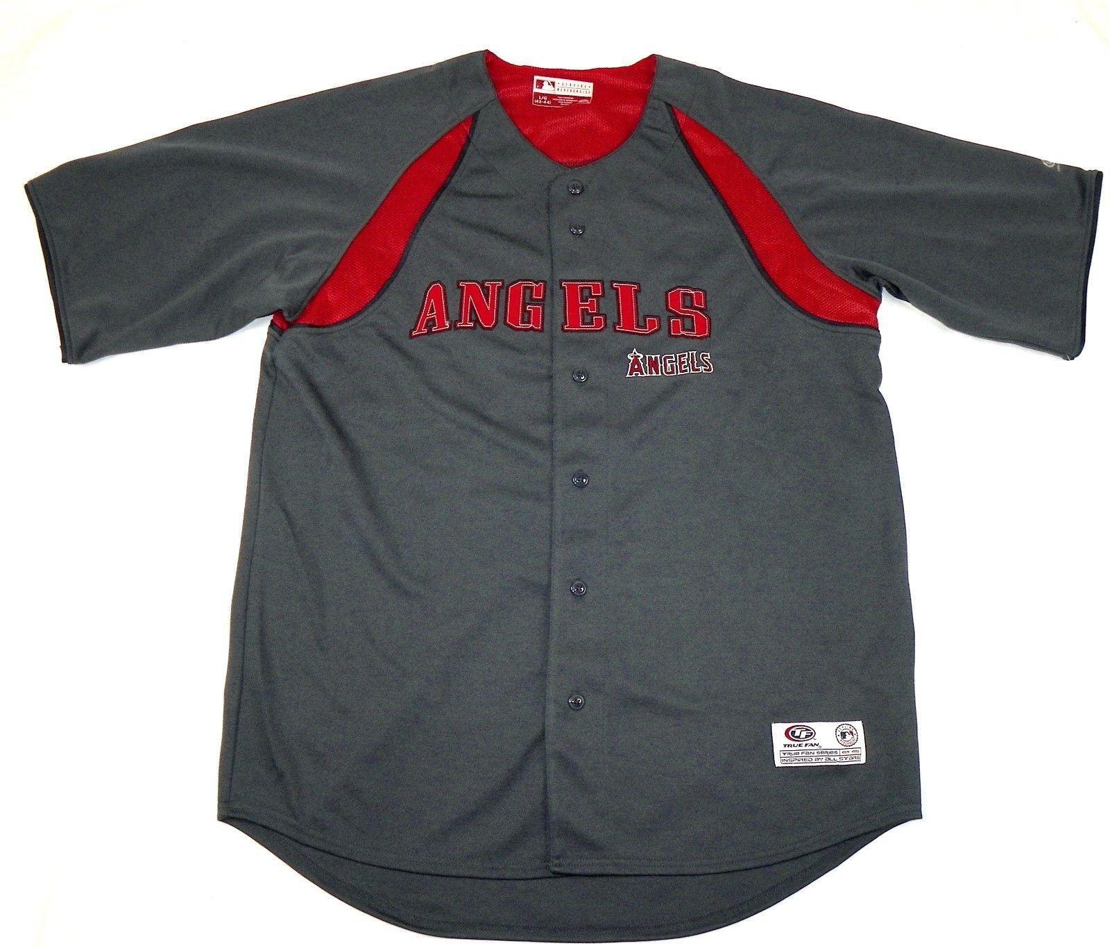 Los Angeles Angels Jersey Men's MLB Baseball True Fan Button-Down Granite NEW