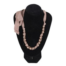 Authentic LANVIN Taupe Groigrain Ribbon & Pearls NECKLACE w/ Tie Closure - $386.10