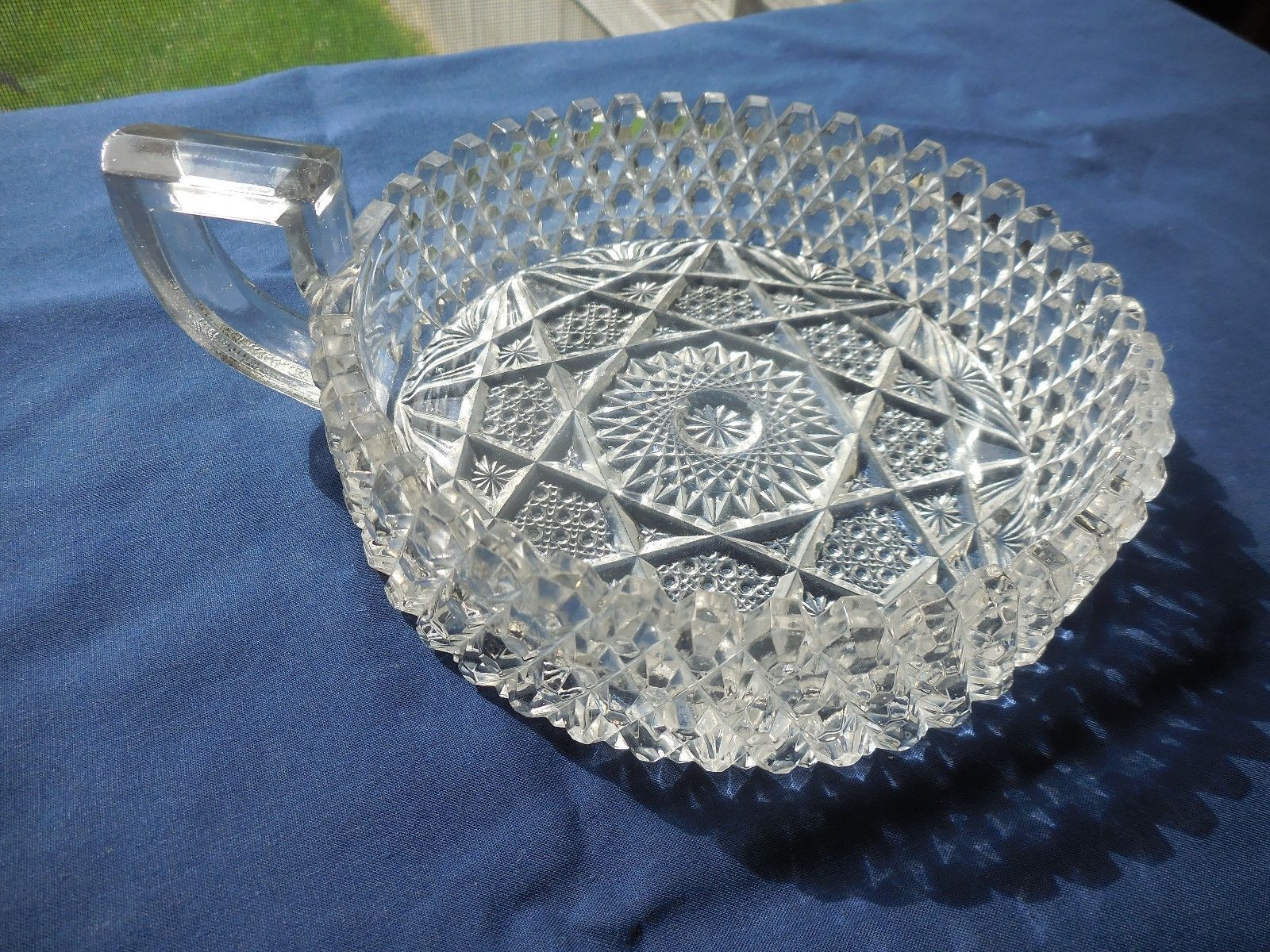 Primary image for Vintage Westmoreland Crystal Clear Dish Sawtooth Hobstar,  Glows w/ Blacklight
