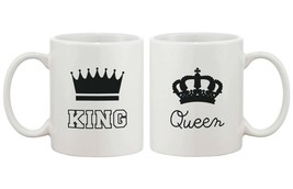 King and Queen Couple Coffee Mug Set Cute Matching Ceramic Mugs Gift for... - $24.99