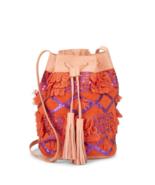 NEW ANTIK BATIK WOMEN'S SEQUINED DRAWSTRING BUCKET BAG WITH LEATHER TRIM... - $118.75