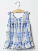 NWT $27 GAP Kids Blue Plaid Swing Tank Top Ruffle Hem Shirt Blouse 4 5 8 XS M - $12.99