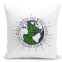 "Throw Pillow Lets Go Travel Around The World Globe Silhouette Pillow 16""... - $28.49"
