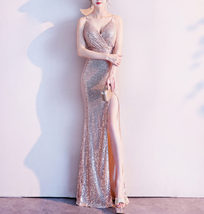 Sleeveless Sexy Sequin Dress V Neck High Slit Sequin Maxi Dress Gown Pink Gold image 1
