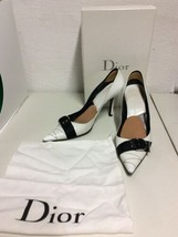 Christian Dior Womens Leather Pointed Toe Pumps Black/White Size 9 US 39... - $74.95