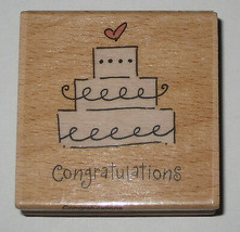 Wedding Cake Congratulations Rubber Stamp Wood Mounted Cards Marriage New - $3.75