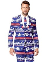 OppoSuits Men's The Rudolpoh Party Costume Suit, Blue/White/Red, 46 - $91.55