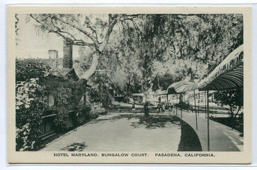 Hotel Maryland Bungalow Court Pasadena California 1920s postcard - $7.43