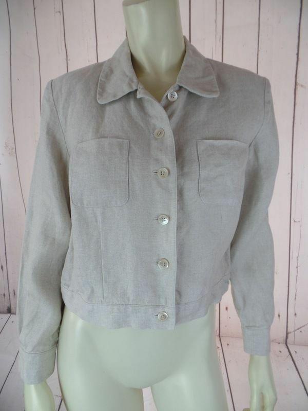TALBOTS PETITES Blazer 4 Beige Heather Irish Linen Crop Shorty Button Front CHIC - $36.43