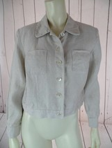 TALBOTS PETITES Blazer 4 Beige Heather Irish Linen Crop Shorty Button Fr... - $36.43