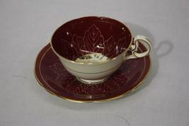 Vintage Aynsley Maroon Red & Gold Leaf Floral Pattern Cup & Saucer Set, ... - $49.99