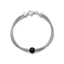 Women's Sterling Silver Double Mesh Strand and Black Onyx Bracelet - $89.99