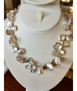 """Lavender white Keshi Pearl Necklace 18"""" Freshwater Rhodium Over silver b... - $48.96"""