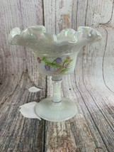 VTG Signed Fenton Iridescent Short Compote Ruffled Edges And Floral - $16.83