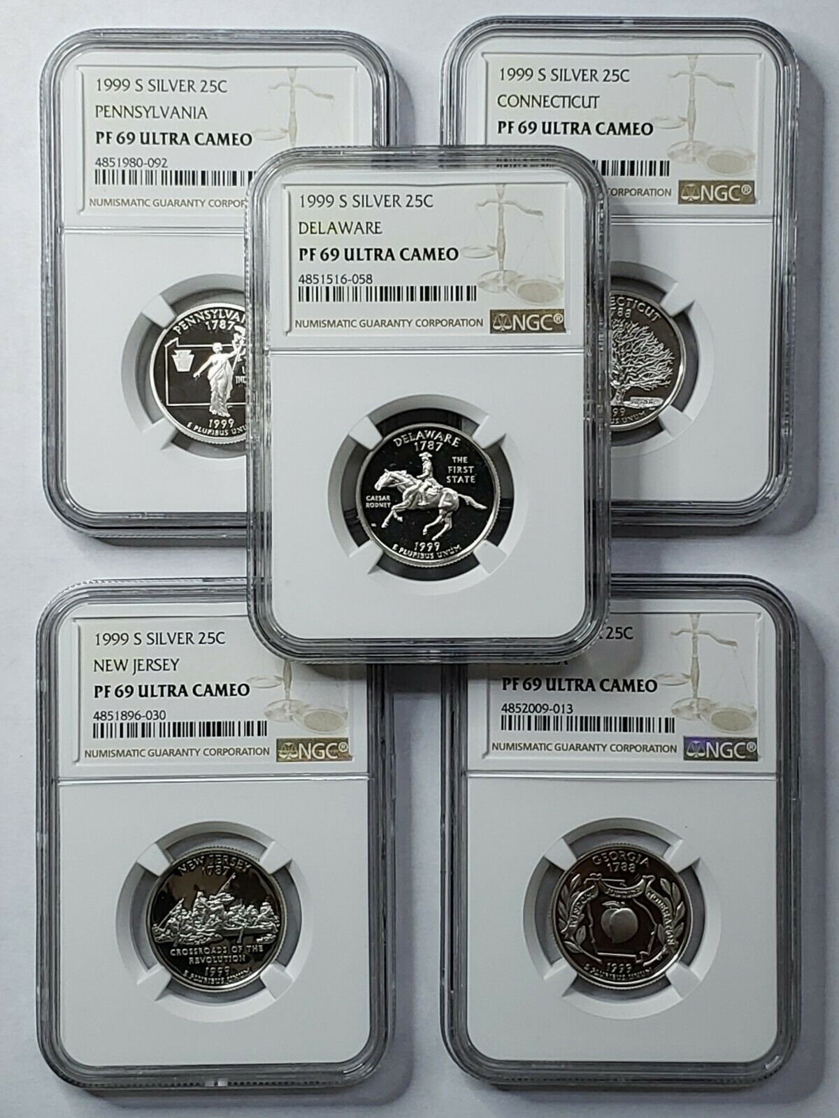 1999S Proof 25c Silver Statehood 5 Quarter Coin Set NGC PF69 Ultra Cameo SKU C7